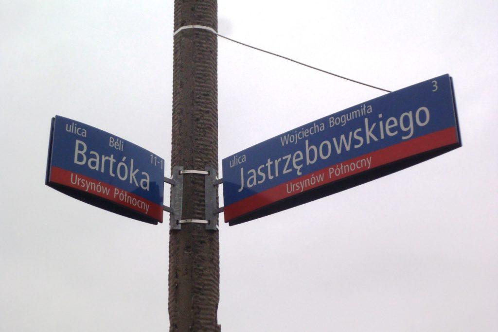 Skrzyżówanie ulic: Bartóka i Jastrzębowskiego