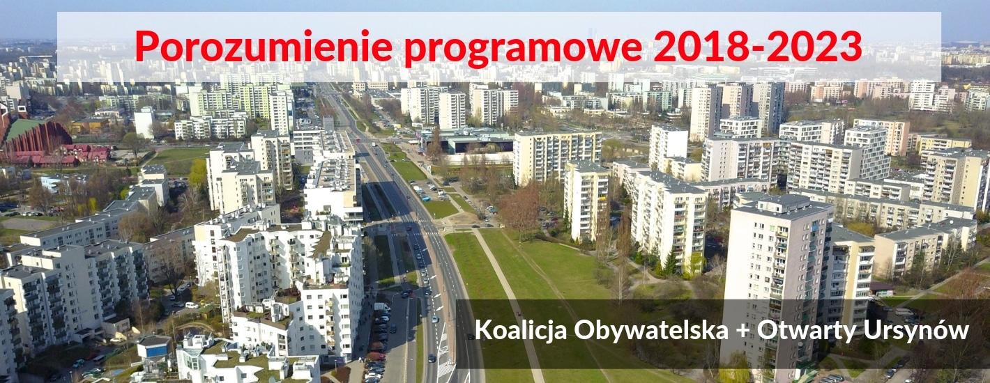 Porozumienie programowe Koalicji Obywatelskiej oraz Otwartego Ursynowa 2018-2023